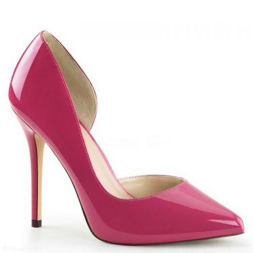 Fuchsia roze pumps met hoge hak en open zijkant   Roze pumps met naaldhak in lak