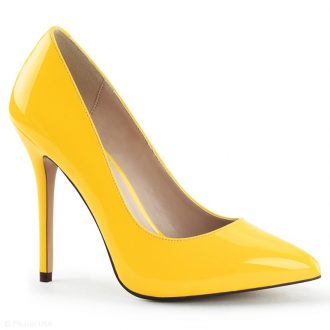 Neon gele hoge hakken met spitse neus en stiletto hak | SILHOUETTE