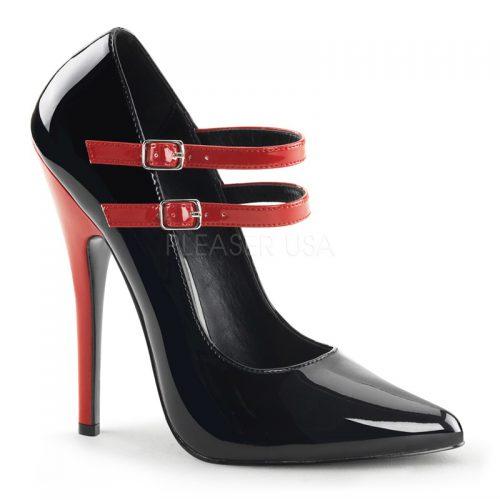 Zwarte pumps met rode hakken | Pumps met naaldhak zwart rood | Zwart Rode pumps met hoge hak