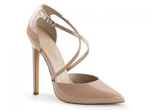 Criss-Cross pumps in nude met super hoge hakken en puntige neus