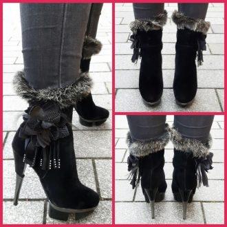 Zwarte stiletto laarsjes met ronde neus en plateau en bontversiering