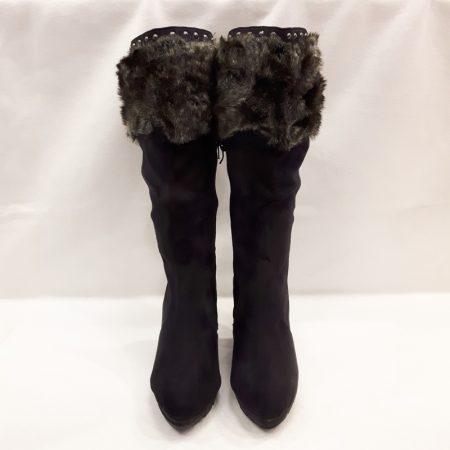 Zwarte bontlaarzen met hakken en profielzool | Silhouette | Hoge Hakken
