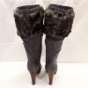 Grijze bontlaarzen met hakken en profielzool | Silhouette | Hoge Hakken