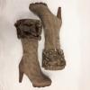 Warme bontlaarzen met hakken | Taupe laarzen met hakken | Silhouette