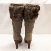 Warme bontlaarzen met hakken   Taupe laarzen met hakken   Silhouette