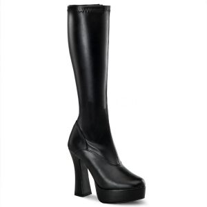 Plateaulaarzen met ronde neuzen en dikke hak in zwart | Abba laarzen | Silhouette