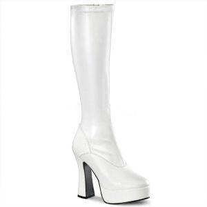 Witte hoge laarzen met ronde neus en dikke hakken | Witte gogo laarzen