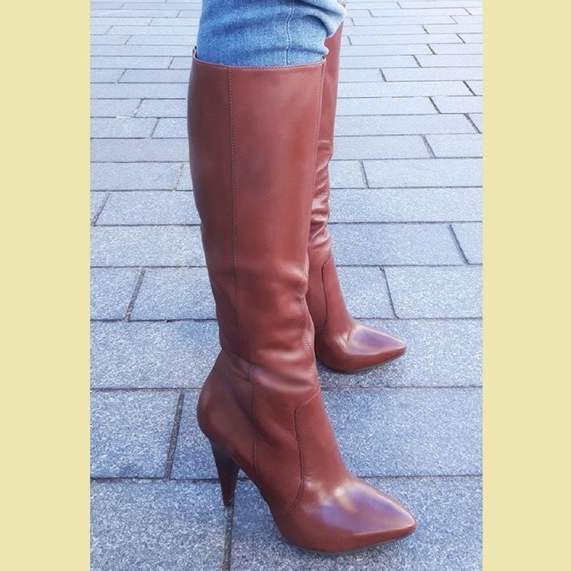 Bruine laarzen met stevige hoge hakken | Silhouette Rotterdam