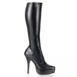 Zwarte laarzen tot de knie met plateau en naaldhakken | Zwarte partyboots