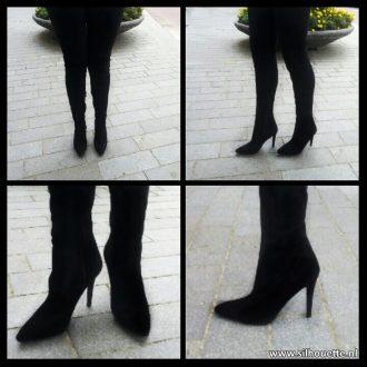 Sale | Zwarte STRETCH laarzen tot over de knie met punt neus