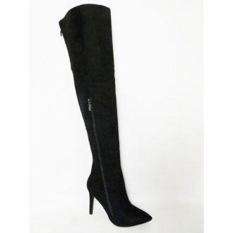 Zwarte laarzen tot boven de knie met punt neus en hoge hakken