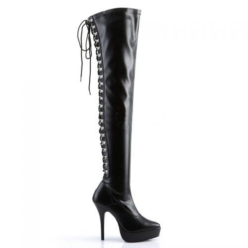 Overknee laarzen met veters aan de achterkant | Pleaser veterlaarzen