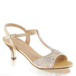 Gala sandaaltjes in goud | open galaschoentjes | Feest schoenen lage hak
