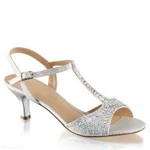 Gala sandaaltjes zilver | Zilveren open schoentjes | Gala schoen lage hak