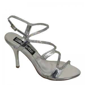 Gala sandaal in zilver imi-leer met strass steentjes en naaldhakken