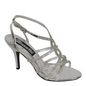 Gala sandaal in zilver imi-leer met open teen en naaldhakken