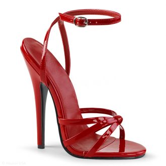 Sexy rode sandaaltjes met superhoge naaldhak en bandjes