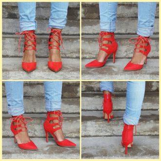 Rode lace up pumps met hoge hak