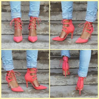 Koraal roze lace up pumps met hoge hak