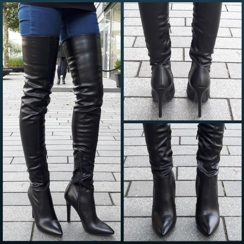 Leukste hoge hakken | Stretch extra lange overknee laarzen met spitse neus en naaldhakken