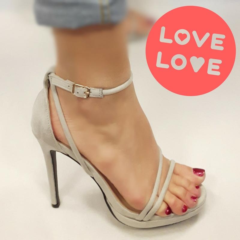 Leukste hoge hakken | Grijze open schoentjes met bandjes en naaldhakken