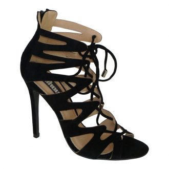 Cage Sandal / Lace Up Sandal / Cut Out Sandal zwart