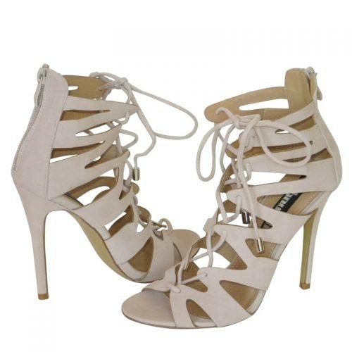 Cage Sandal / Lace Up Sandal / Cut Out Sandal beige