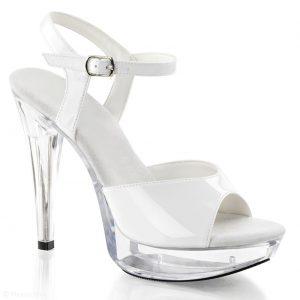 Witte lak sandalet met doorzichtige hakken en plateau   Silhouette