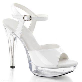 Witte lak sandaaltjes met doorzichtige zool en hak