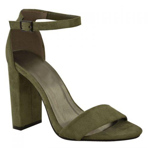 Khaki legergroen sandaaltje met smalle bandjes en blokhak