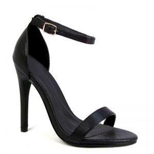 Zwart strappy sandal met hoge stiletto hakken
