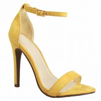 Gele open schoentjes met bandjes en hoge stiletto naaldhakken