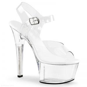 Extra brede doorzichtige paaldans schoenen   Doorzichtige hakken breed