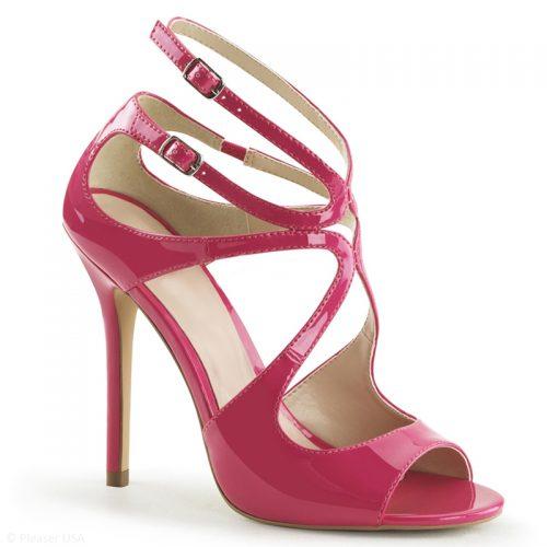Fuchsia Roze sandaaltje type Jimmy Choo met bandjes en naaldhak
