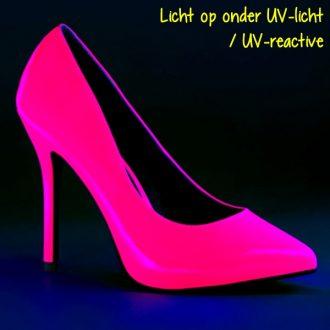 Neon roze pump met Naaldhakken die reageert op Blacklight