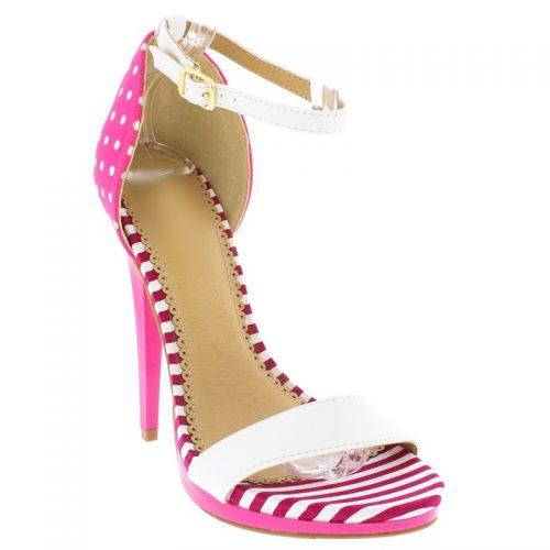 Strappy sandals in fuchsia roze met wit met stippen en strepen