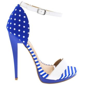 Strappy sandals in blauw met wit met stippen en strepen