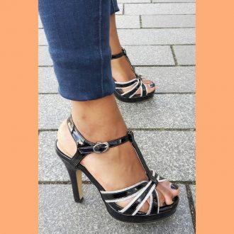 Zwarte open schoenen in kleine maat met hoge hak   SILHOUETTE