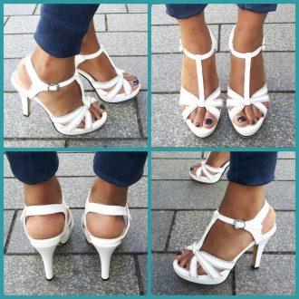 Witte open schoenen in kleine maat met hoge hak   SILHOUETTE