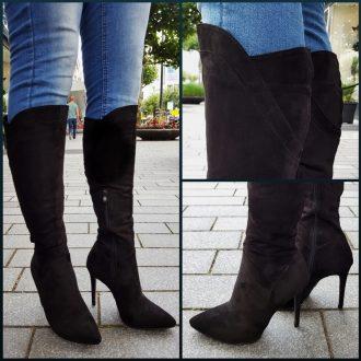 Zwarte kniehoge laarzen met naaldhakken