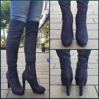 Blauwe hoge overknee laarzen met hoge hakken