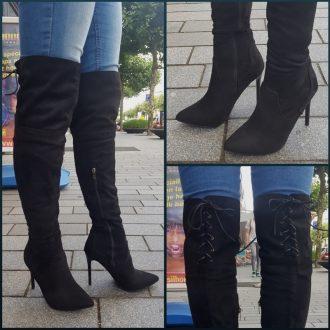 Zwarte overdeknie laarzen met naaldhak en vetertje achter | SILHOUETTE
