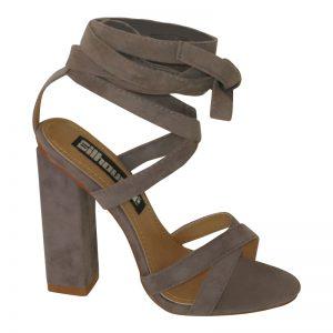 Grijze open schoenen met bandjes en blokhak