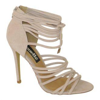 Nude strappy sandal met hoge hak