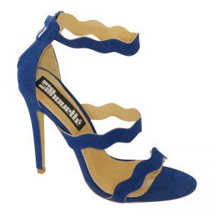 Kobalt blauwe strappy sandals met hoge hak