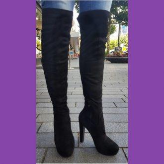 Zwarte stretch laarzen boven de knie met ronde neus | SILHOUETTE