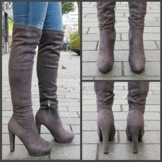 Grijze overknee laarzen met ronde neus en blokhak