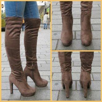 Licht bruine overknee laarzen met ronde neus en dikke hak