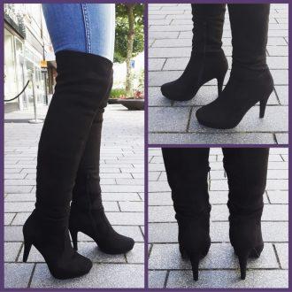 Zwarte hoge laarzen overknee met ronde neus en naaldhak