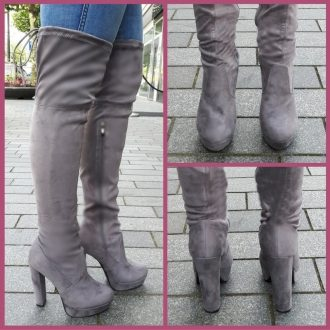 Grijze hoge laarzen boven de knie overknee met blokhak